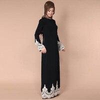 KLV Women's Dress 2019 TOP Middle Eastern Turkish Fashion Full Buckle Muslim Lace Robes Muslim Long Dress 4.16