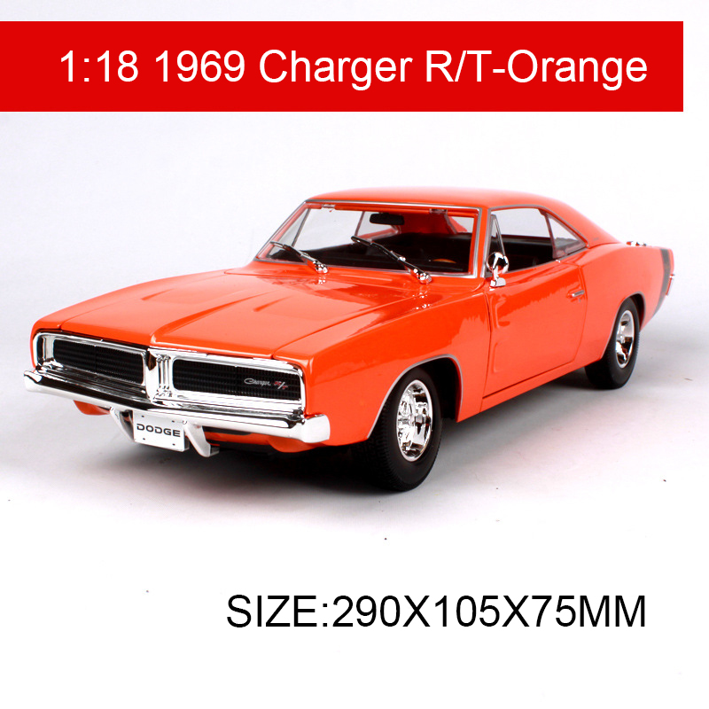 1:18 diecast Car 1969 Charger R/T Muscle Cars 1:18 Alloy Car Metal Vehicle Collectible Models toys For Gift