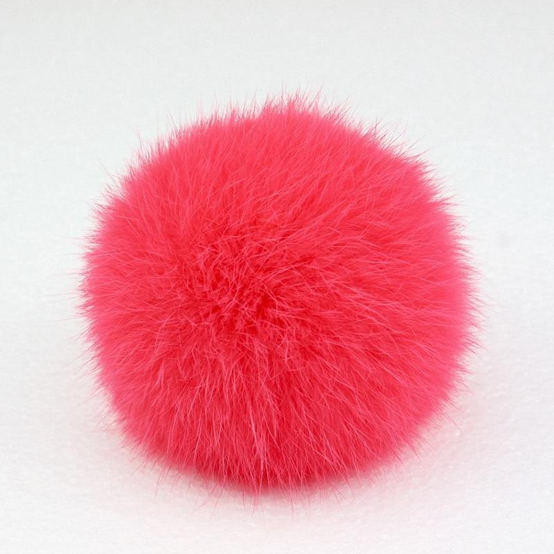 8cm Nature Genuine Rex Rabbit Fur Ball Pom Pom Fluffy DIY Winter Hat   Skullies     Beanies   Knitted Cap Pompoms DEF001-watermelon