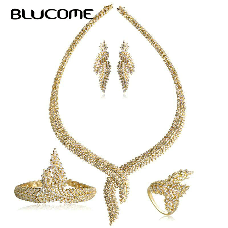 Blucome Luxury Crown Shape Wedding Jewelry Set Copper Zircon Gold Color Necklace Earrings Bangle Ring Sets Women Party Bijoux graceful solid color rhinestone crown shape ring for women