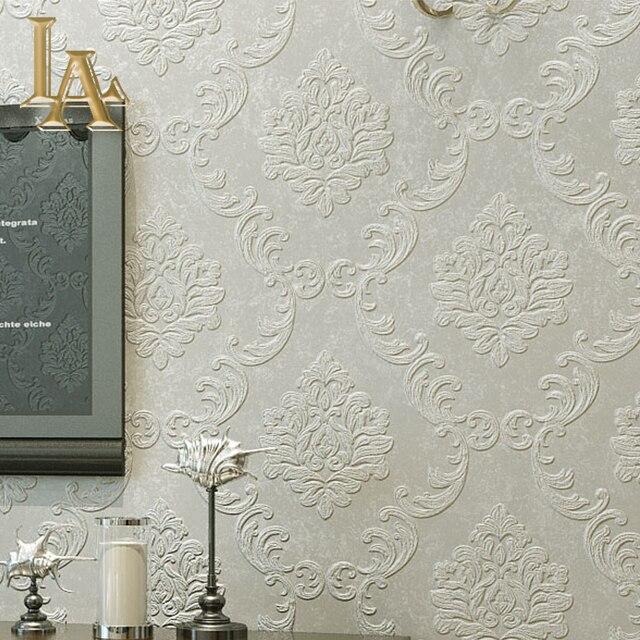 € 24.23  Européen Simple luxe Beige gris 3D damassé papier peint salon  chambre Design moderne non tissé papiers peints décor à la maison dans ...