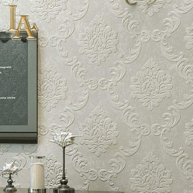 Semplice europea di lusso beige grigio 3d carta da parati for Carta da parati damascata moderna