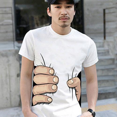 2019 New Product Men's Fashion Summer 3D Big Hand Print Round Neck Short Sleeve White T-shirt hot