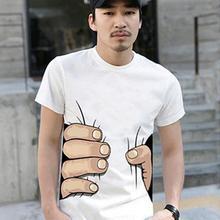 2020 New Mens Fashion Summer 3D Big Hand Print Round Neck Short Sleeve White T shirt Hot Halloween Costumes