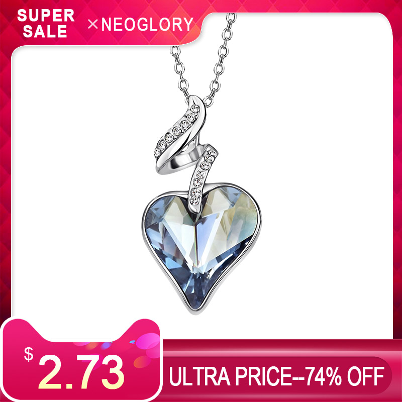 Neoglory Austria Crystal & Czech Rhinestone Love Heart Charm Pendant Long Necklace Elegant Romantic Holiday Valentines GiftNeoglory Austria Crystal & Czech Rhinestone Love Heart Charm Pendant Long Necklace Elegant Romantic Holiday Valentines Gift