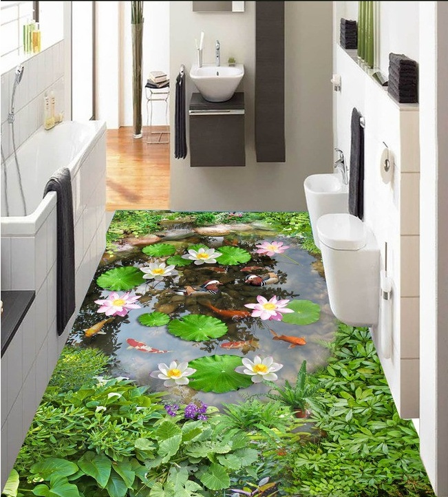 ФОТО 3 d pvc flooring custom wall wticker 3d bathroom flooring 3 d Mandarin duck pond lotus painting photo wallpaper for walls 3d
