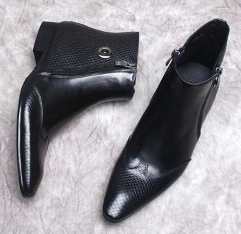 замшевые сапоги | Новый Змеиной кожи ботинки «мартенс» мужские английские остроконечные двойная молния обувь мужские ботинки бизнес джинсовые сапоги