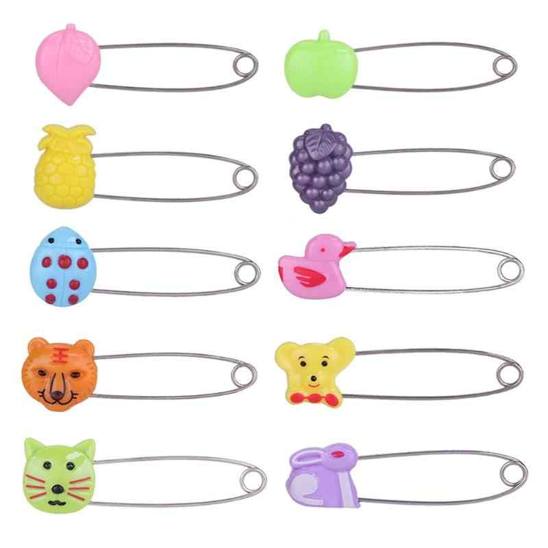 Cute Shape Plastic Head Safety Pins Infant Kids Cloth Nappy Locking Brooch Buckles Baby Care Shower Diaper Clips Pins