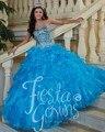 Nueva llegada azul 2017 vestidos de quinceañera balón vestido con cuentas piedras masquerade dress sweet 16 vestidos vestidos de 15 anos
