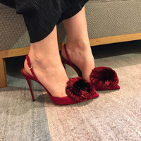 Famous Design Pompom Fur Balls Stiletto High Heels Dress Shoes Woman Pumps Slingback Wedding Party Finge Sandals Ladies Hot Sell