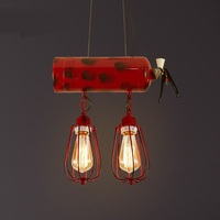 Red fire extinguisher pendant lights creative 2/3 heads lights for bar cafe bedroom study iron pendant lamps ZA