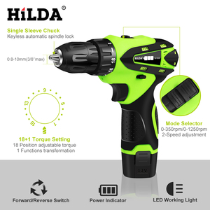 Image 2 - HILDA 12V Electric Screwdriver Lithium Battery Rechargeable Parafusadeira Furadeira Multi function Cordless Electric Drill