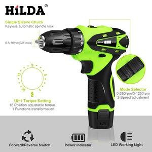 Image 2 - HILDA 12V Máy Vặn Pin Lithium Sạc Parafusadeira Furadeira Đa Chức Năng Không Dây Máy Khoan Điện