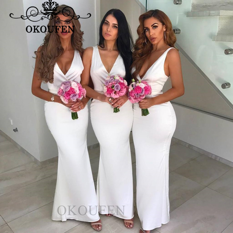 Cheap White Mermaid Bridesmaid Dresses For Women Wholesale Price 2019 Deep V Neck Long Party Dress Formal Gown Corset Back