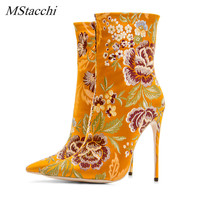 Mstacchi Retro Women Embroider Chelsea Boots Fashion Sexy 12cm High Heel Shoes Woman Green Plus Size 33 43 Autumn Winter Boots