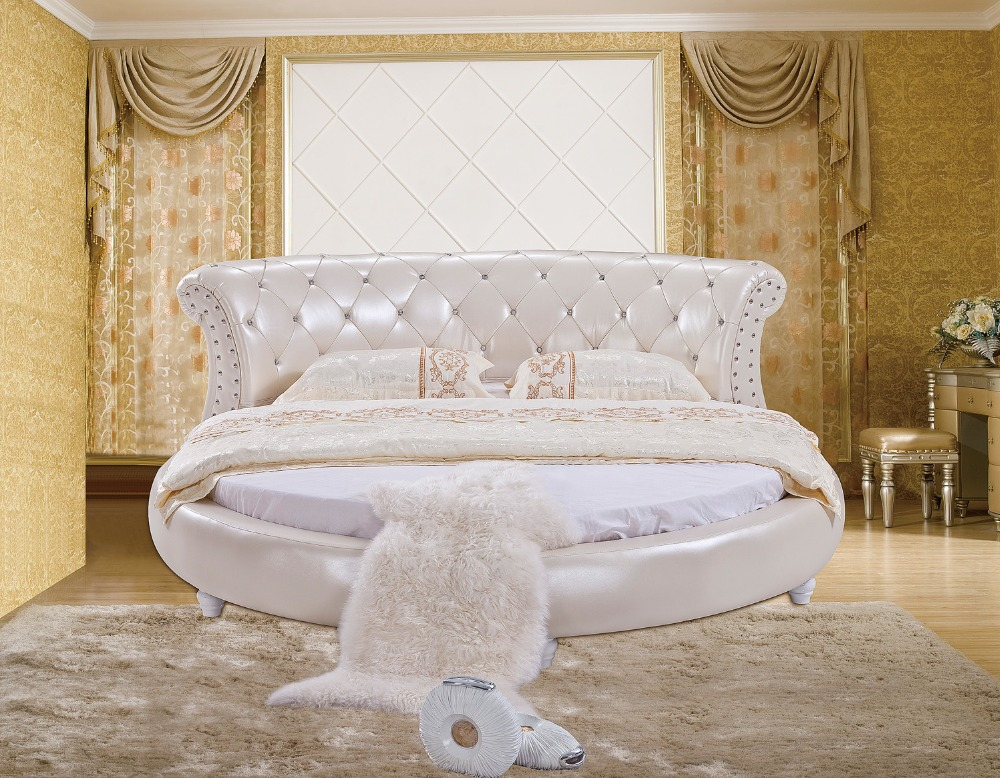 The Modern Design Of The Soft Leather Bed / Gold / Large Double Bedroom  Furniture, Modern Style Round Bed Room Part 93