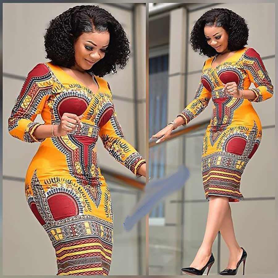 Châu Phi Quần Áo Mới Thời Trang Mùa Hè Cho Nữ Tay Ngắn Váy Đầm Cổ Chữ V Sâu Truyền Thống Châu Phi In Đầm Dự Tiệc