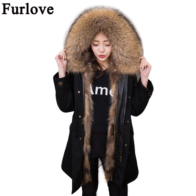 2017 New Women Winter Fur Parka Army Green Jacket Coats Thick Large Real Raccoon Fur Collar Fox Fur Liner Outwear Brand style new 2017 jott jacket winter women parka long coat large real raccoon fur collar faux rabbit fur liner army green casual outwear