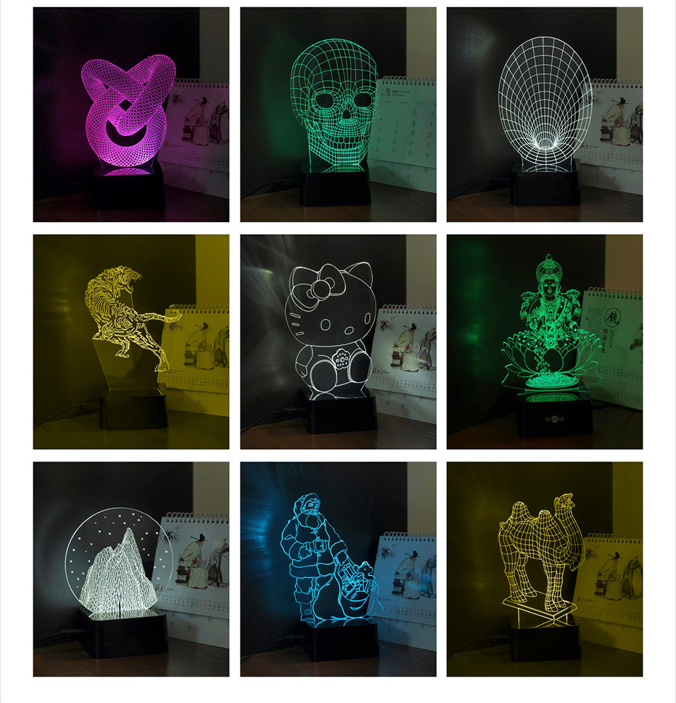 Luces Navidad Horse Shaped Led Christmas Lights 3D LED RGB Table Lamp (8)