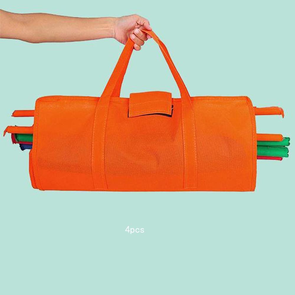 Supermarket Shopping Cart Bag Insulation Non woven Bag Trolley Storage Bag 4 Piece Set Portable Durable|Foldable Storage Bags| |  - title=