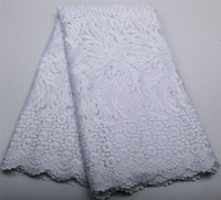 2017 Embroidered African White Lace Fabric High Quality Mesh Nigerian Lace Fabrics For Wedding Dress XZ326B