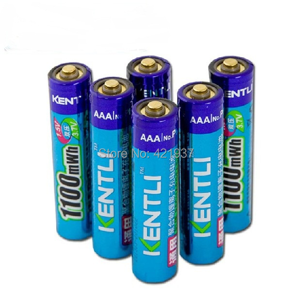 Free shipping 6pcs KENTLI AAA lithium Battery1.5V 1100mWh Lithium ion polymer AAA Rechargeble Battery Stable voltage AAA Battery