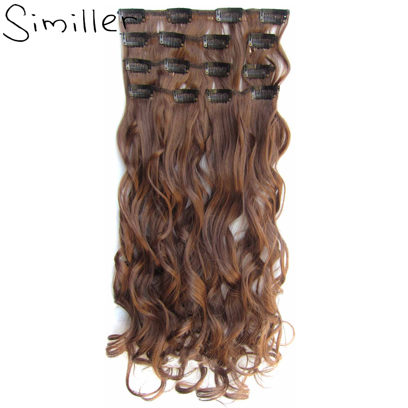 Similler 7 pcs <font><b>16</b></font> Clips 24 inch High Tempureture Fiber Thick Curly Full Head Clip In On Double Weft Hair Extensions 9 Colors image