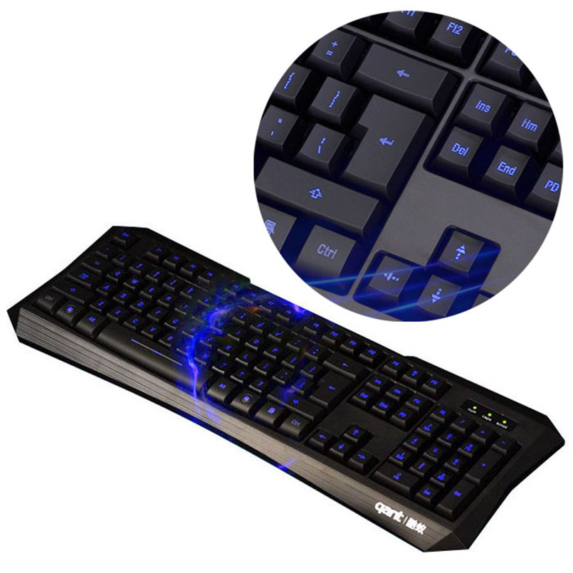 Malloom 2016 <font><b>Professional</b></font> Wireless Keyboards Mouse gamer sem fio Para <font><b>Blu-ray</b></font> LED Illuminated USB Wired Silent Gaming Keyboard