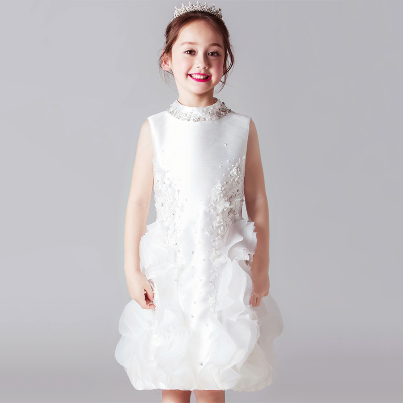 High End Royal Princess Prom Dress Stand Collar Flower Girl Dresses Wedding Satin Crystal Kids Pageant Dress Birthday Costume children s day poster french high end girls blue temperament mosaic dress collar collar pleated dress