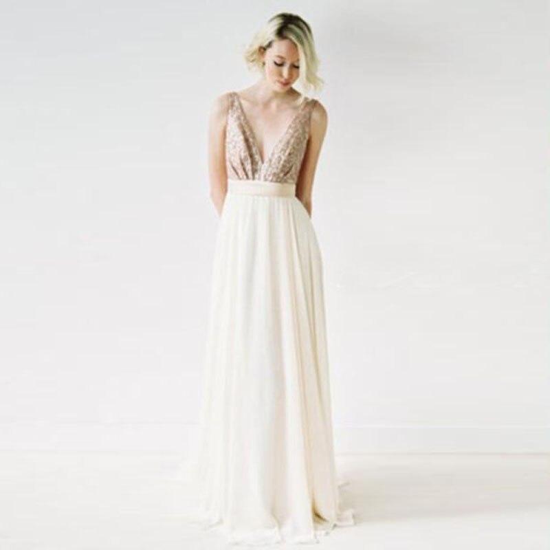 Sommer Strand Hochzeit Brautjungfer Kleider New Rose Gold Pailletten ...
