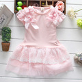 2016 Summer New Fashion Baby Girls Cotton short sleeve Dress Big Bow Infants Nice Floral Dresses princess clthing for 1-4years