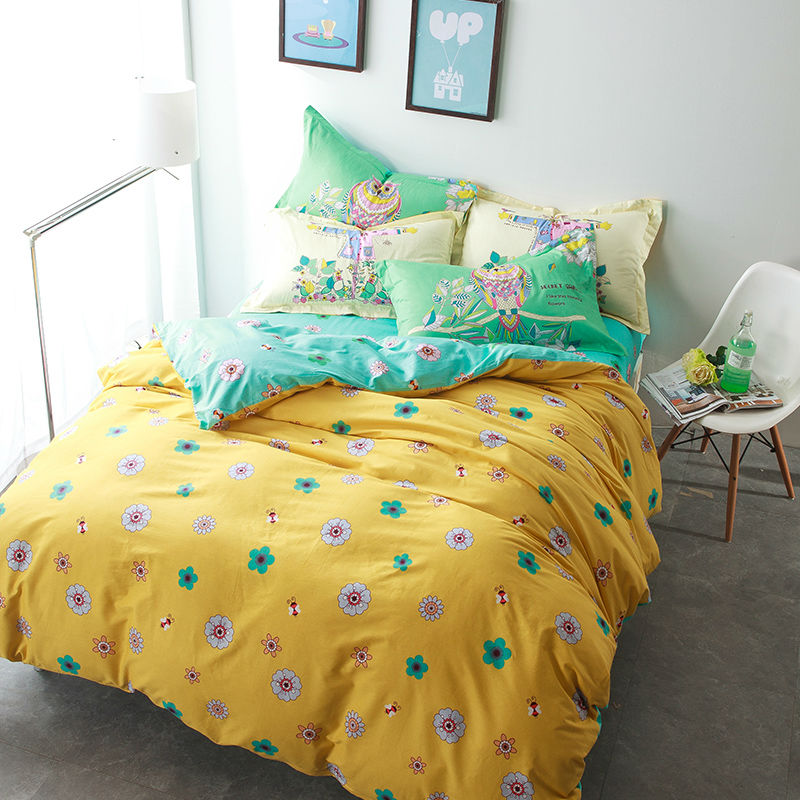 floral flowers yellow print combing 100 cotton linens bedding sets - Floral Duvet Covers