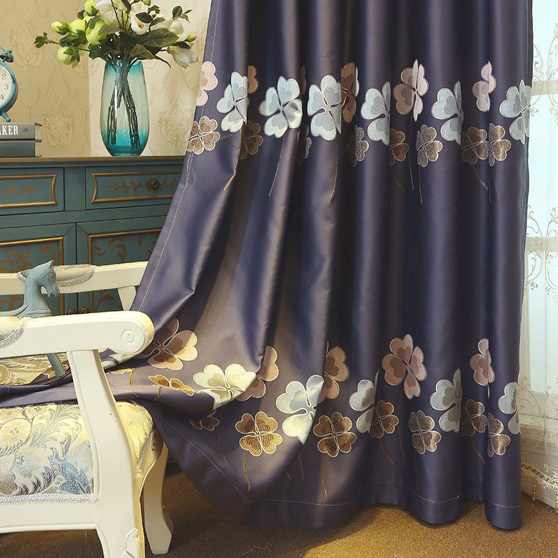 Luxury Embroidered Clover Curtains For Living Room Bedroom