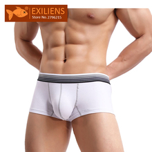 4aeb9c62e EXILIENS العلامة التجارية الملابس الداخلية الرجال الملاكم 100% القطن تنفس  الأزياء اليابانية نمط الأبيض الأسود
