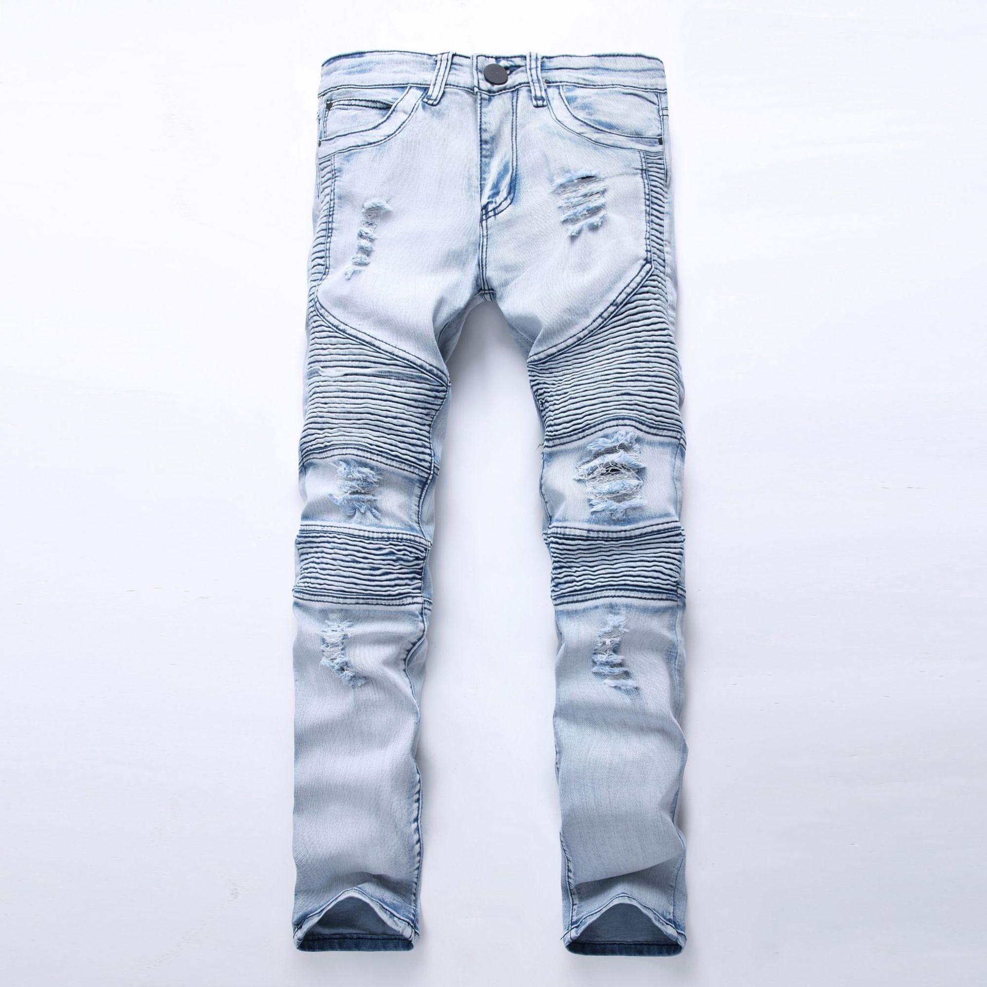 Street locomotive male personality wrinkle Slim pants pants elastic hole tide   jeans