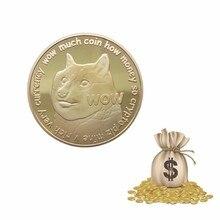 Позолоченная DogCoin Коллекционная монета искусство, Коллекционирование, подарок физический Металл Dogecoin Античная имитация дома вечерние украшения подарок