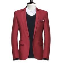 Новый бренд мужской пиджак пиджак насыщенный красный хаки черный slim-подходят мужские свадебное платье костюм Большой размер 3XL формальные свободного покроя пиджак masculino