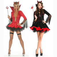 Free Shipping Halloween Costumes Adult Women Evil Black & Red Demon stand collar Costume Robe Fancy Cosplay Clothing for Women