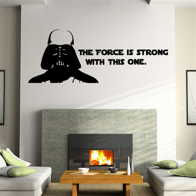 Star Wars Wall Stickers Poster The Force Is Strong Wall Art Stickers Decals for kids room Home Decoration Boy's gift