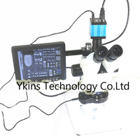 Eakins brand 7X 90X Trinocular stereo microscope+16MP HDMI USB Industrial Camera with 8 inch monitor