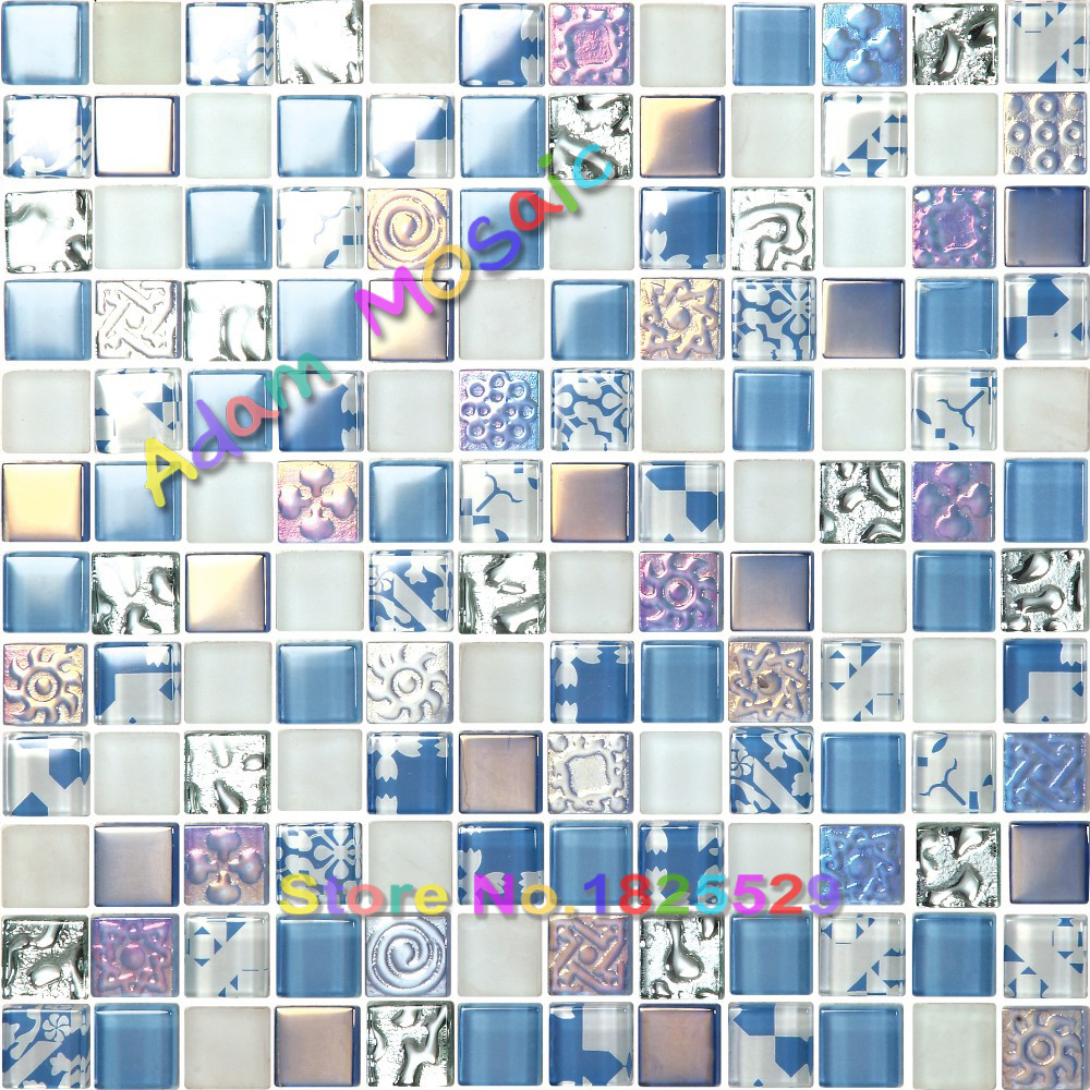 iridescent tiles blue glass mosaic tiles mirror bathroom wall deco ...