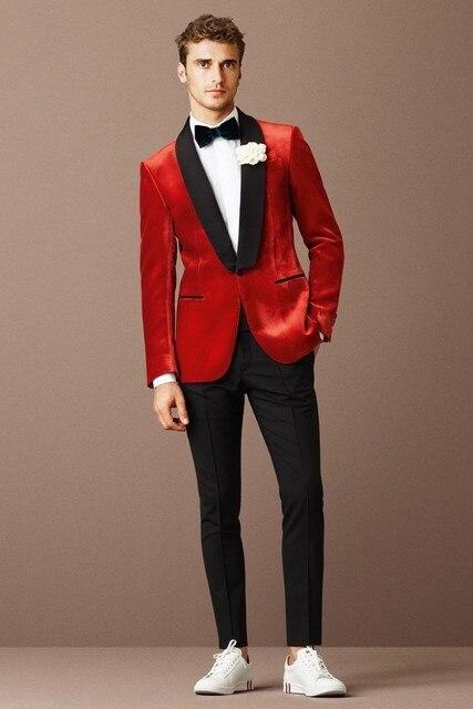 ec1c9143637 Men's Wedding Suit Fashion 2015 M-0854 Black Lapel Red velvet Tuxedo Jacket  Black Pants New Arrivals Red Velvet Blazer
