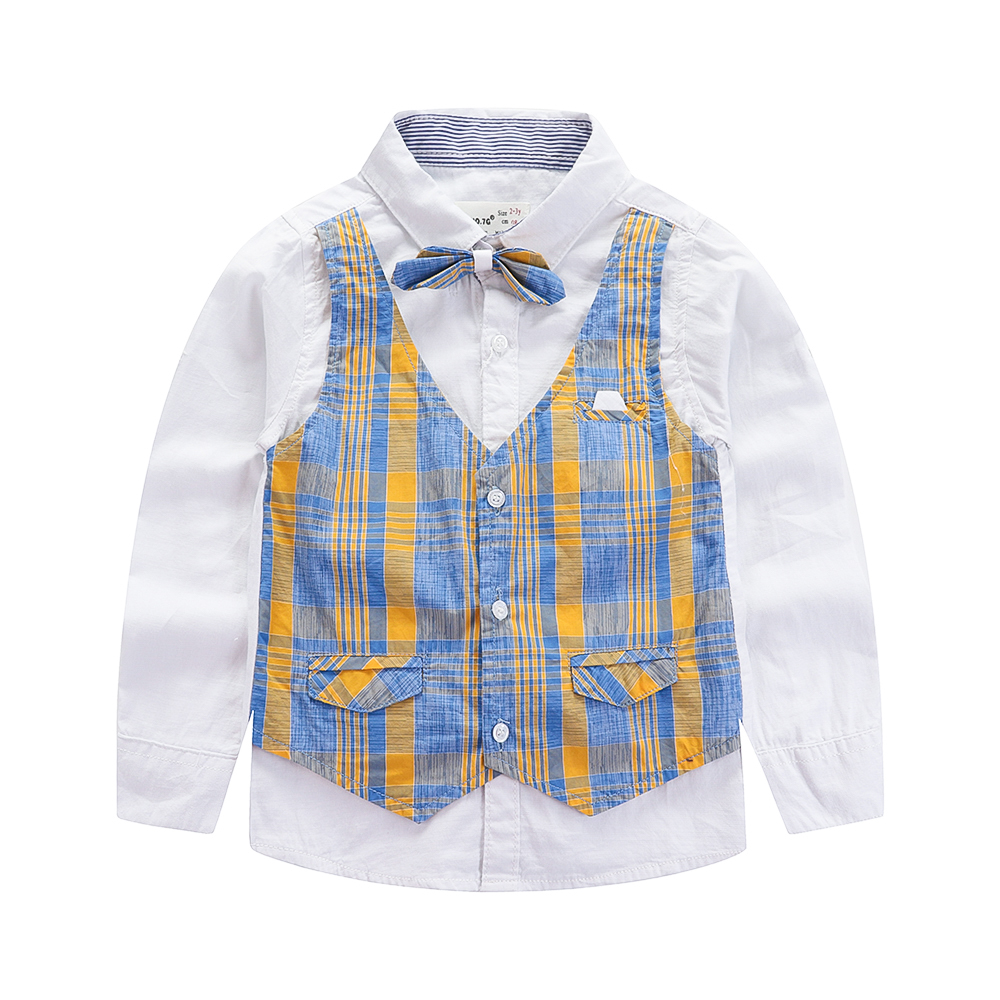 Fashion Plaid Shirts For Boys 2019 Spring Brand Design Gentleman Long Sleeve Baby Shirt Children Clothing Cotton Infant Tops in Shirts from Mother Kids