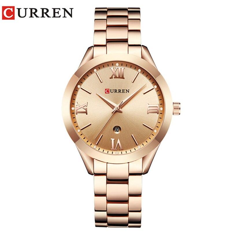 CURREN Einfache Mode Edelstahl Analog Quarz Armbanduhr Kalender Weibliche Kleid Uhr Frauen Uhr Relogio Feminino 9007