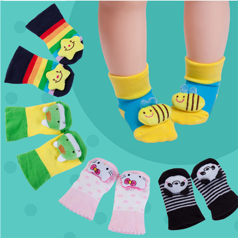 First Walkers Baby Shoes 1pairs Baby Socks With Non-slip Soles Soft Floor Sock Leg Warmers Bear Toddler Shoes Sock Cotton Rabbit Panda Animal Design