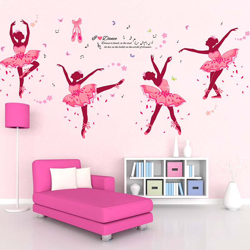 Diy wall decor ballet girls art wall stickers for kids for Wall decals kids room