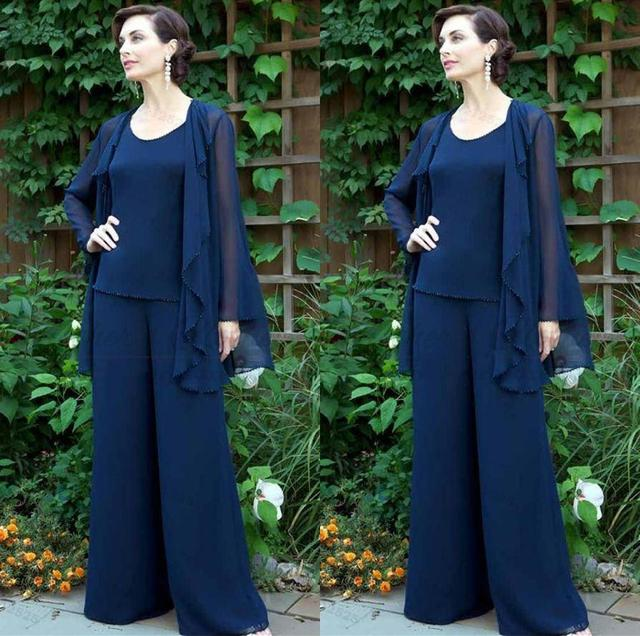 666b2cc6a79 Navy Blue Plus Size 3 Pieces Mother s Pants Suits V Neck Beaded Mother of  the Bride Dresses Long Sleeves Evening Wear