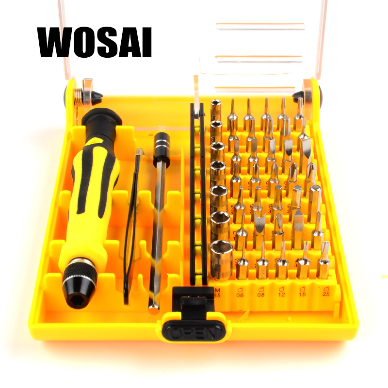 WOSAI 45in1 Multi-purpose Precision Magnetic Hand Screwdriver Set Household Hand Tool Set for PC Phone Repair Kit Iphone 16 in 1 household profession multi purpose repair tool set with soldering iron digital mulimeter for laptop pc tablet