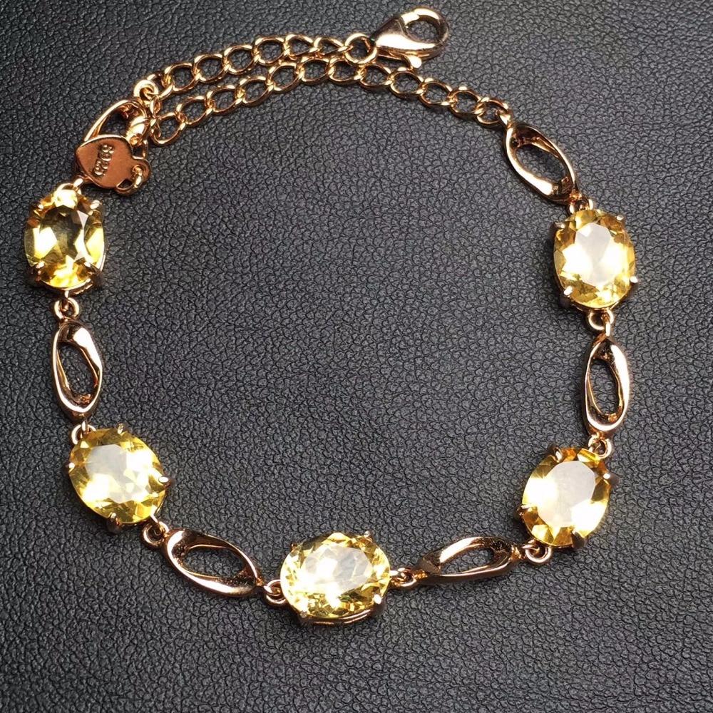 Fine Jewelry Real 925 Sterling Silver S925 100% Natural Citrine Gemstone Bracelets for women Fine Bracelet