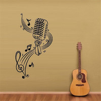 E44 Wall Vinyl Sticker Decals Mural Room Design MICROPHONE Music Notes Hair Bar Wall Stickers Home
